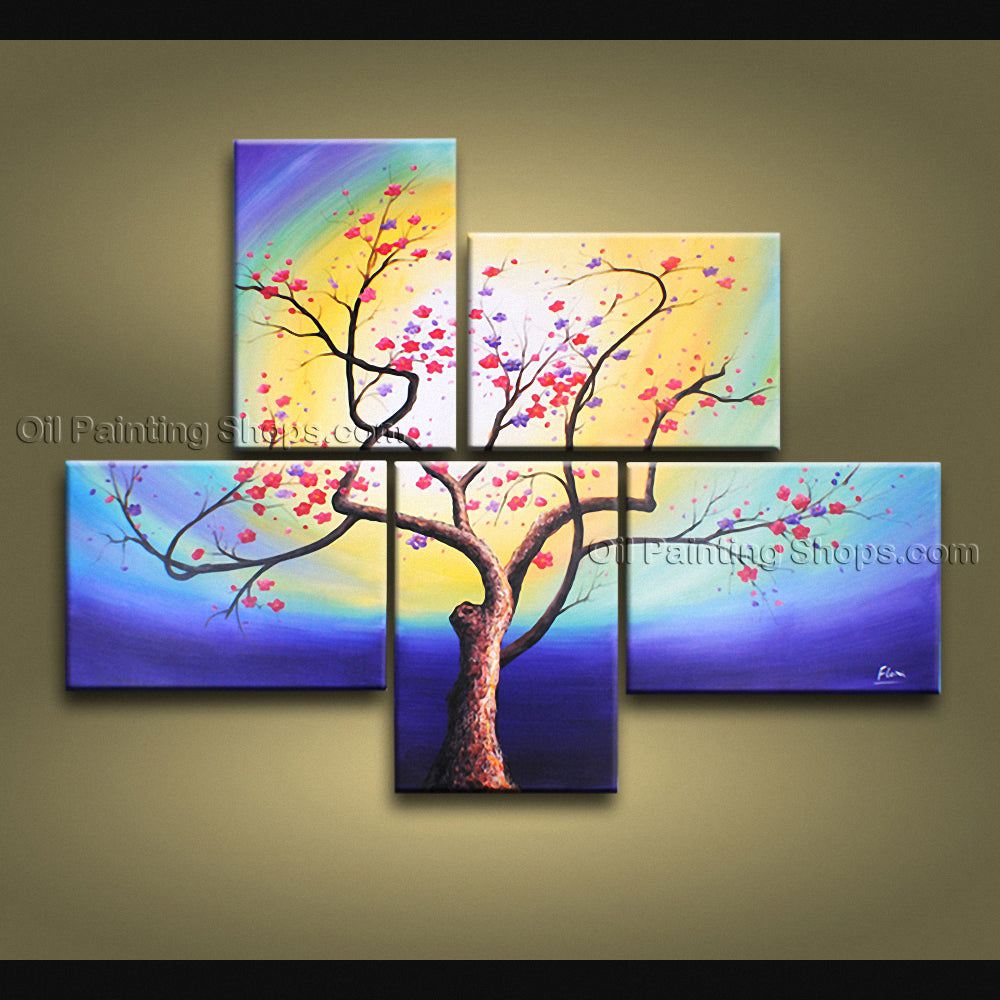 5 Pieces Contemporary Wall Art Floral Painting Plum Blossom Ready To Hang