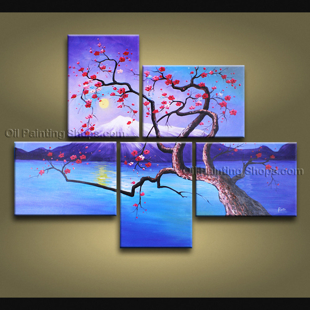 Pentaptych Contemporary Wall Art Floral Plum Blossom Interior Design