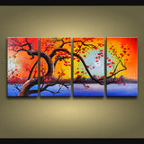 4 Pieces Contemporary Wall Art Floral Paintings Plum Blossom Inner Framed