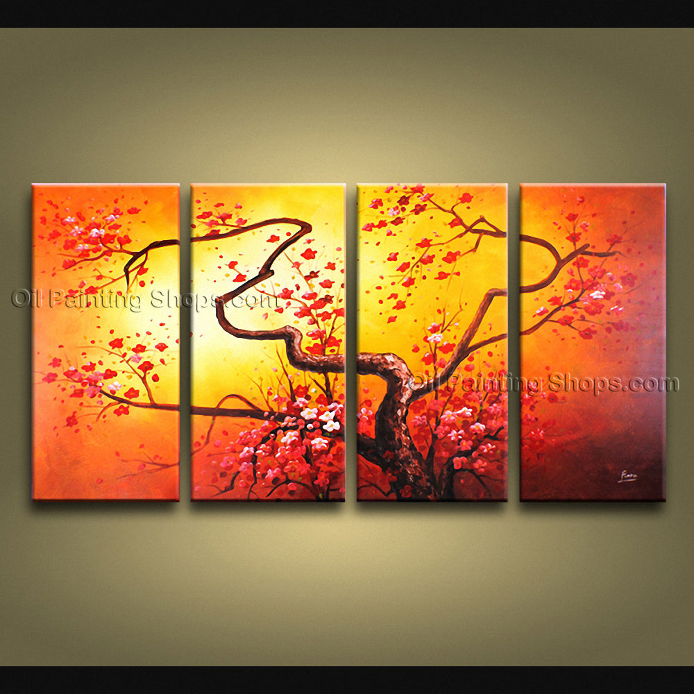 4 Pieces Contemporary Wall Art Floral Plum Blossom Artist Artworks ...