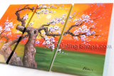 Triptych Contemporary Wall Art Landscape Painting Tree Interior Design