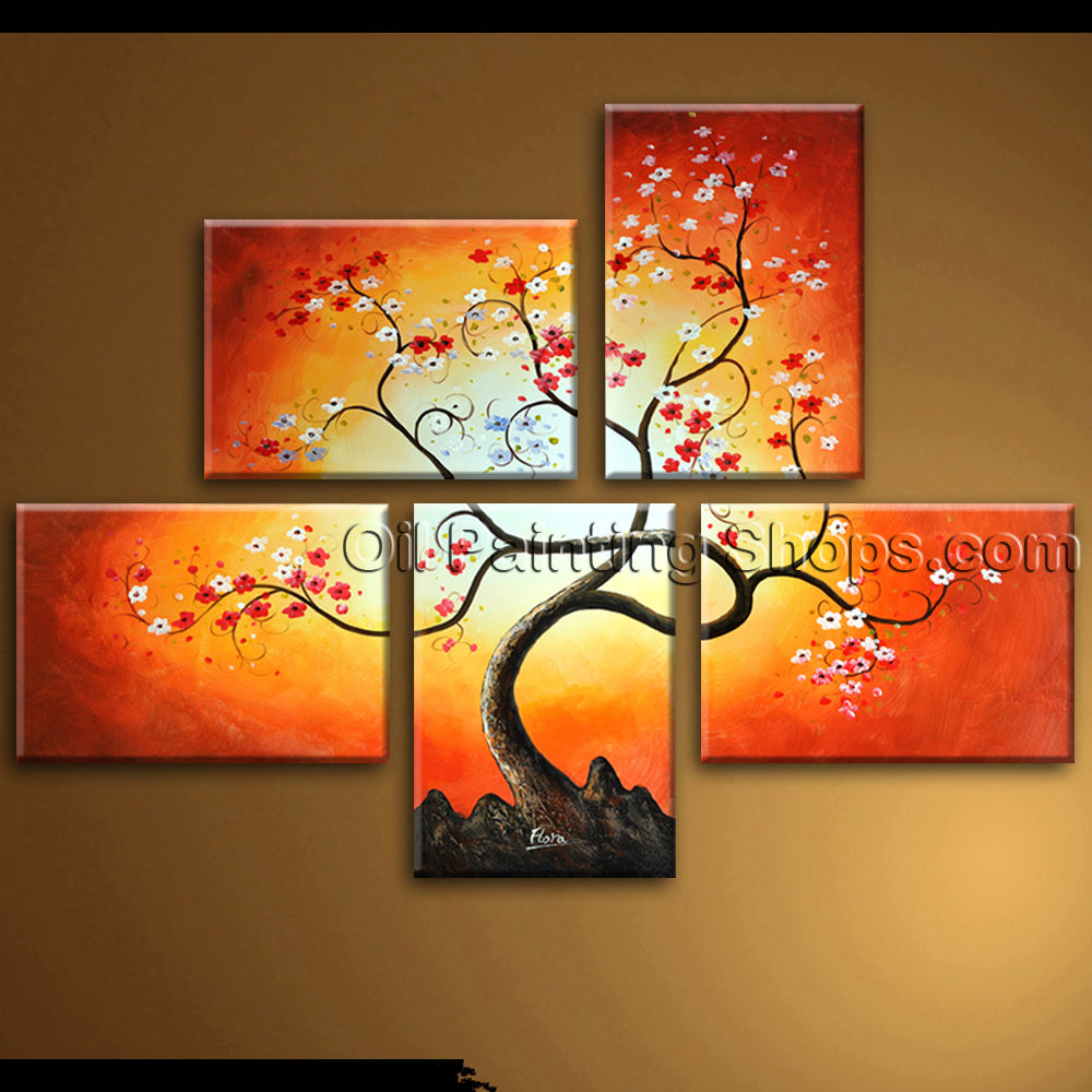 Contemporary Wall Art Abstract Floral Painting Blossom Oil On Canvas Framed