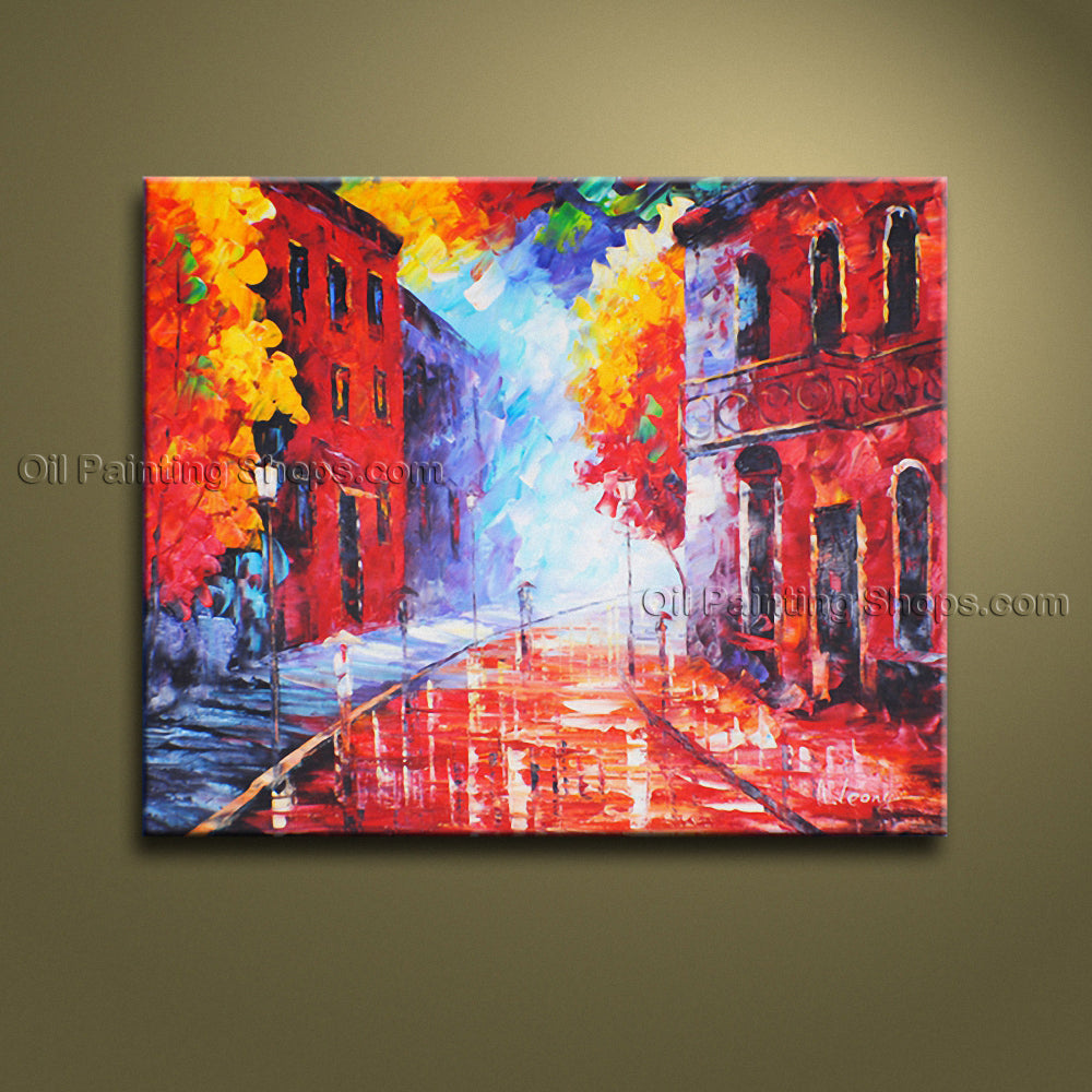 Stunning Contemporary Wall Art Landscape Painting Cityscape Oil On Canvas