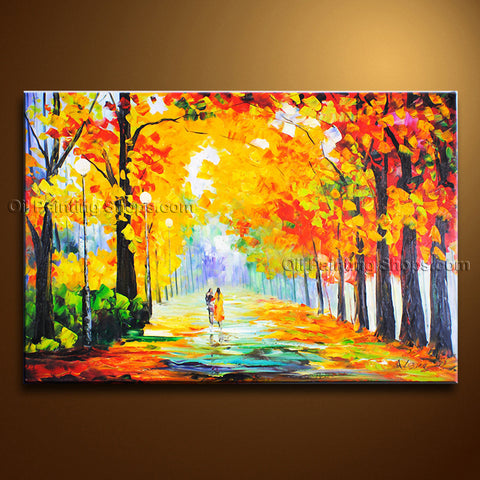 Stunning Contemporary Wall Art Landscape Painting Park Inner Framed