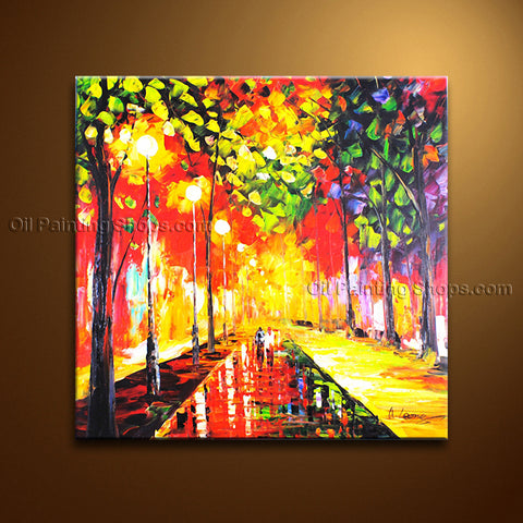 Beautiful Contemporary Wall Art Landscape Painting Park Contemporary Decor