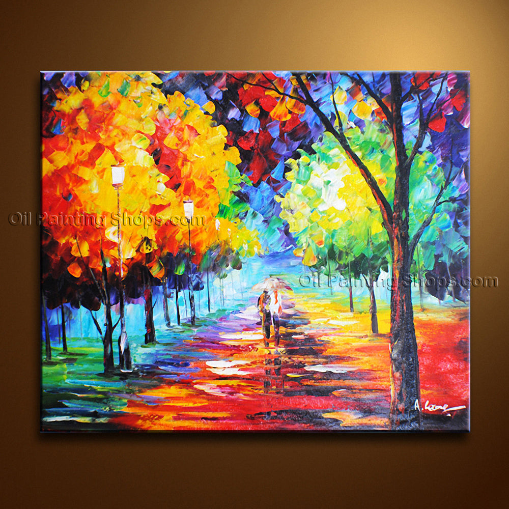 Amazing Contemporary Wall Art Landscape Painting Park Tree Paintings