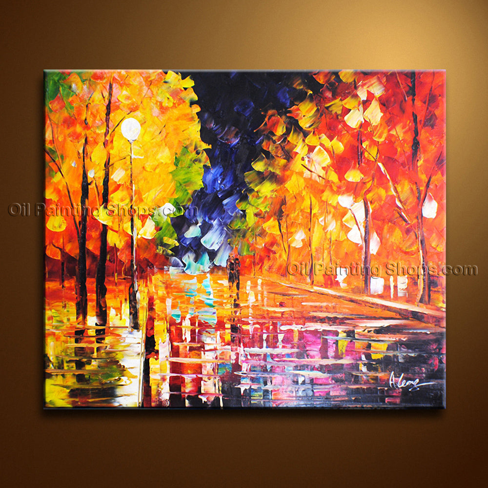 Handmade Astonishing Contemporary Wall Art Landscape Painting Park Scenery