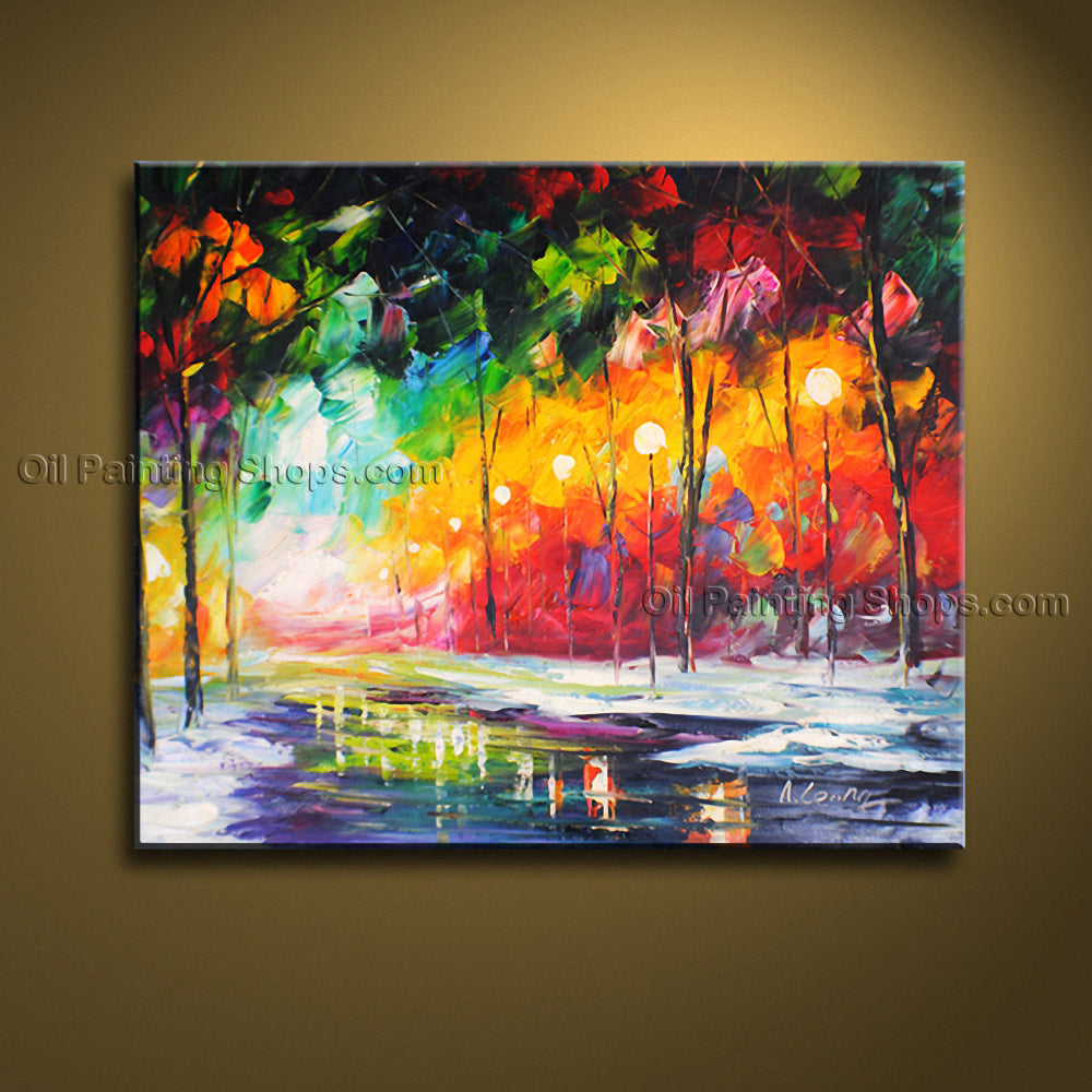 Beautiful Contemporary Wall Art Landscape Painting Cityscape Inner Framed