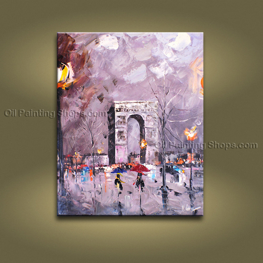 Elegant Contemporary Wall Art Landscape Painting Cityscape Oil On Canvas