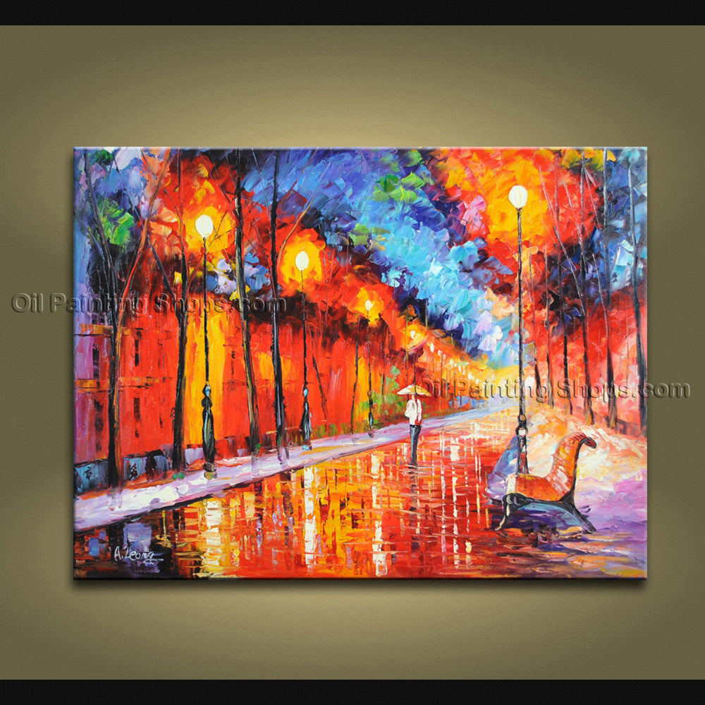 Handmade Elegant Contemporary Wall Art Landscape Painting Gallery Wrapped