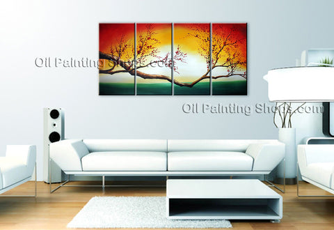 Tetraptych Contemporary Wall Art Floral Cherry Blossom Contemporary Decor