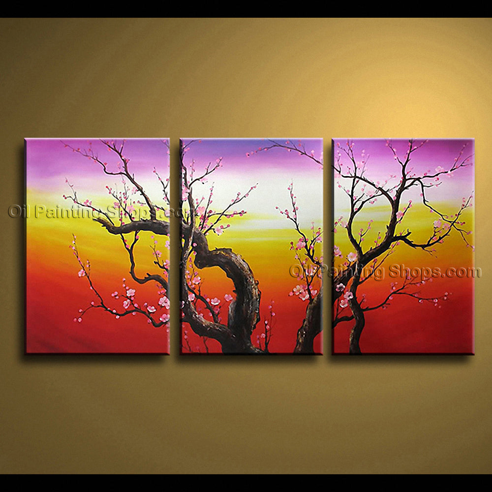 Elegant Contemporary Wall Art Floral Painting Plum Blossom Interior Design