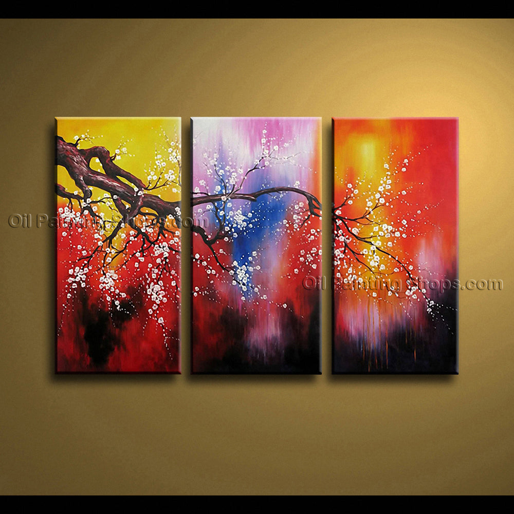 Triptych Contemporary Wall Art Floral Plum Blossom Decoration Ideas