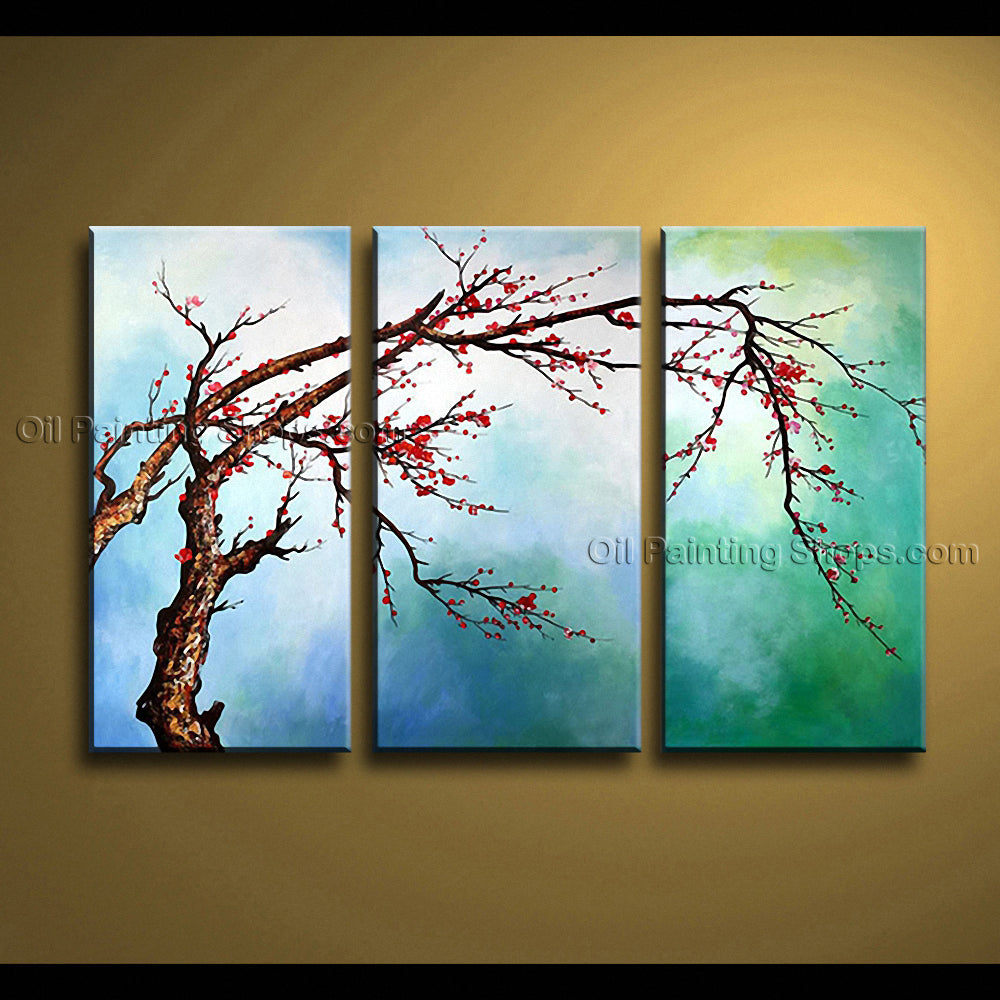 Elegant Contemporary Wall Art Floral Painting Plum Blossom Landscape Scene