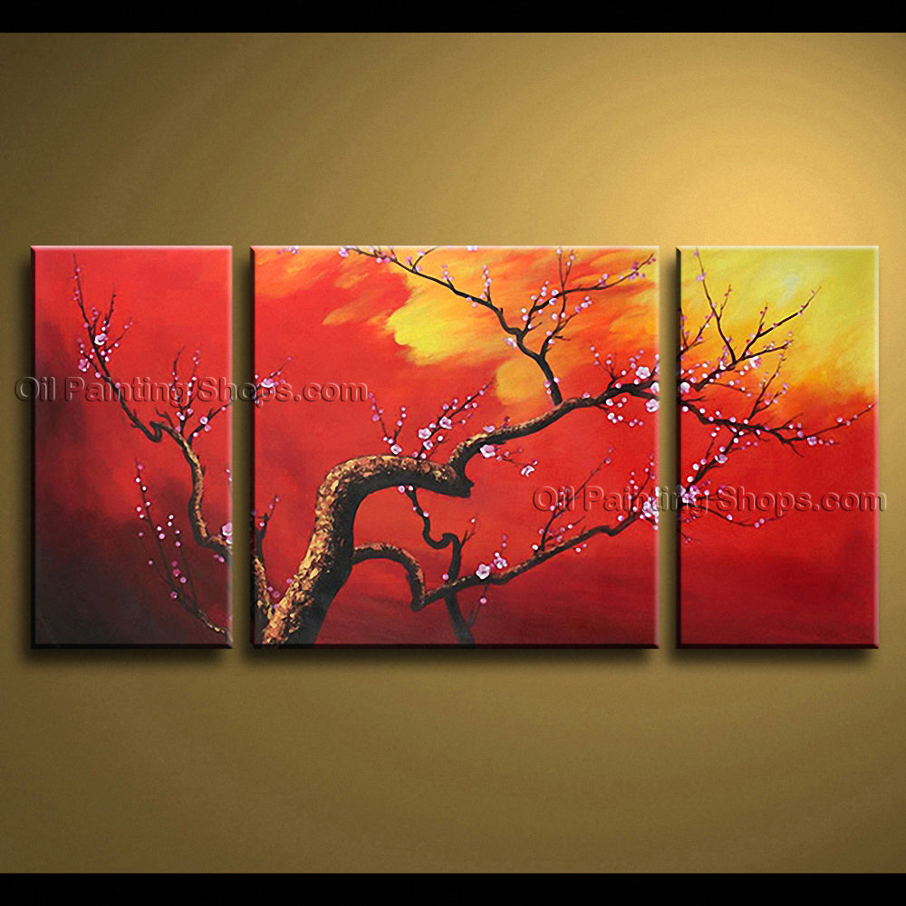 Elegant Contemporary Wall Art Floral Plum Blossom Decoration Ideas
