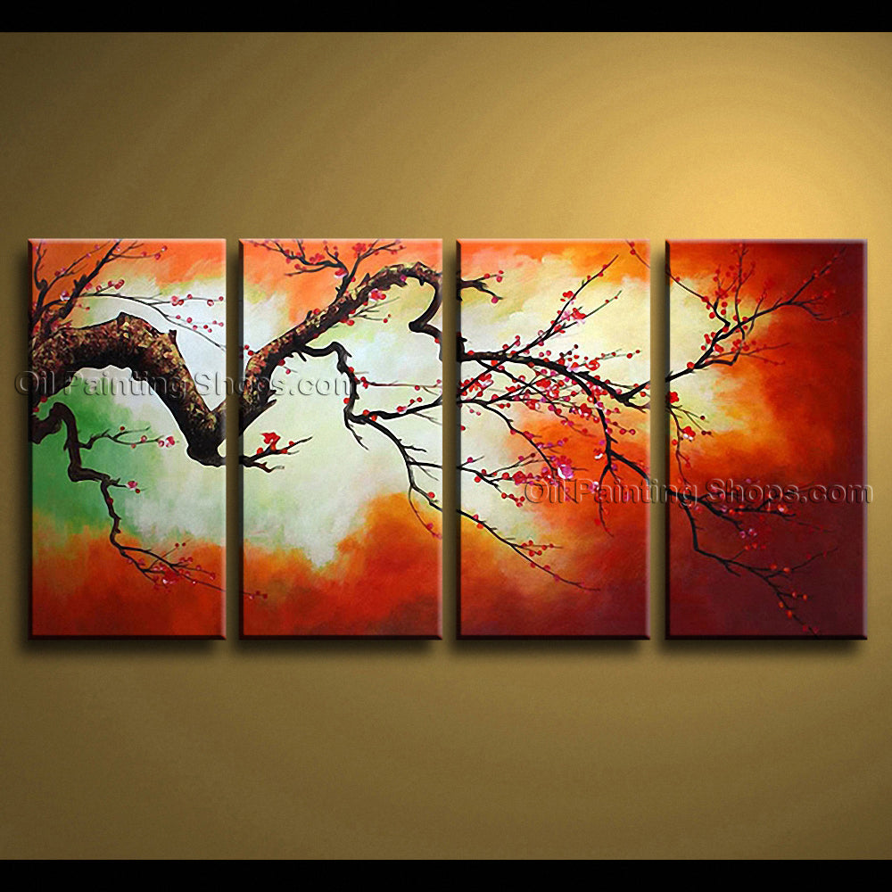 4 Pieces Contemporary Wall Art Floral Plum Blossom Landscape Scene