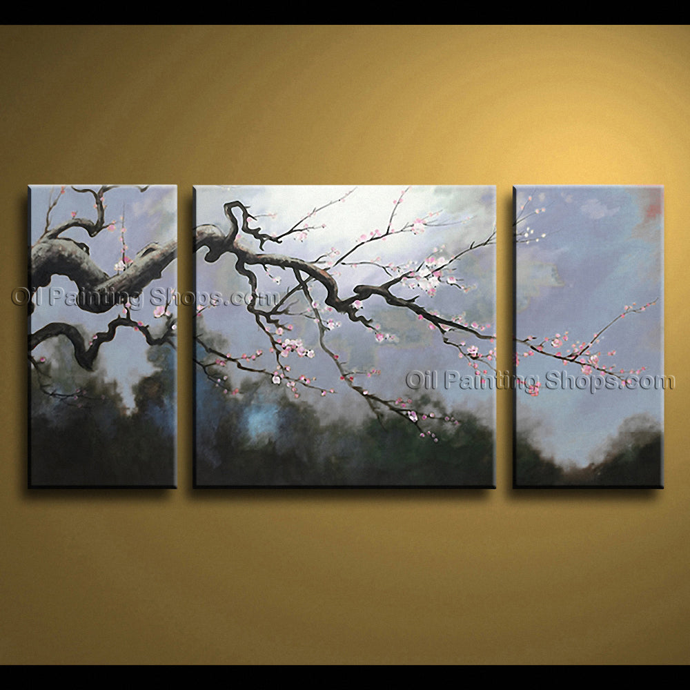 Beautiful Contemporary Wall Art Floral Painting Plum Blossom Scenery