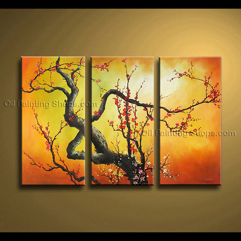 Elegant Contemporary Wall Art Floral Painting Plum Blossom Gallery Wrapped