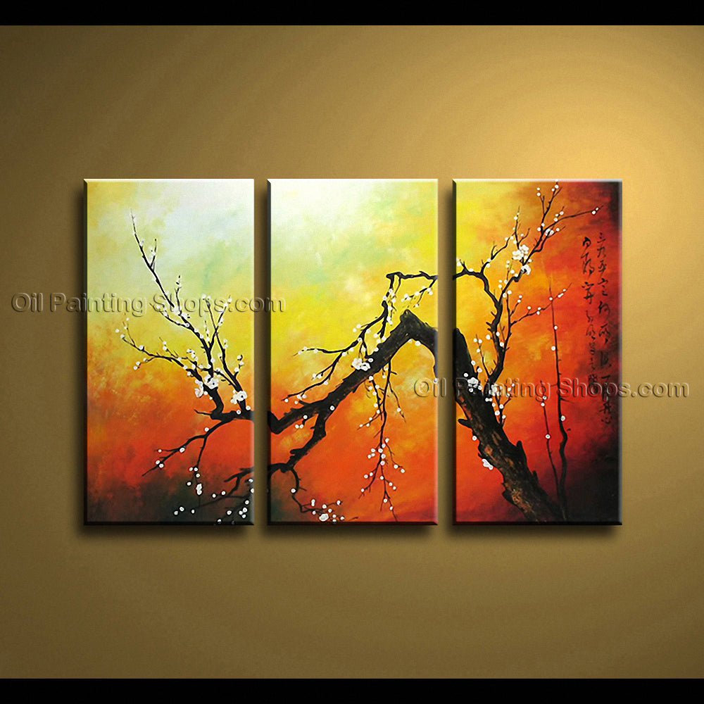 Triptych Contemporary Wall Art Floral Plum Blossom Decoration Ideas ...