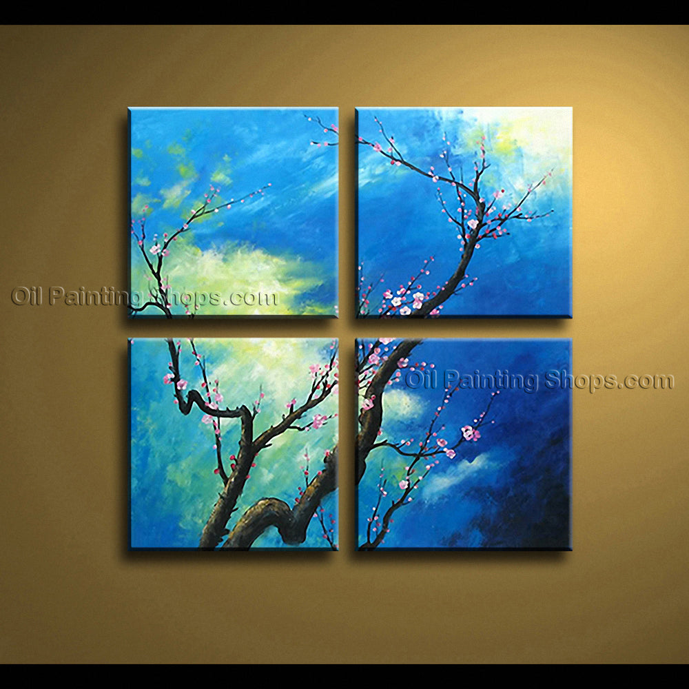 4 Pieces Contemporary Wall Art Floral Plum Blossom Inner Stretched