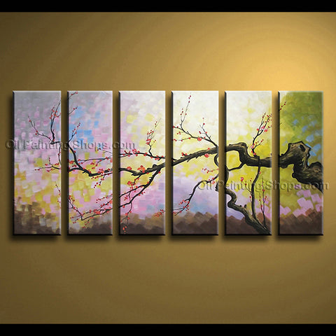 Huge Contemporary Wall Art Floral Painting Plum Blossom Inner Stretched