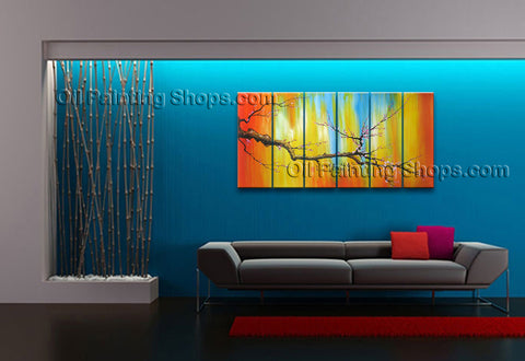 Huge Contemporary Wall Art Floral Painting Plum Blossom Interior Design