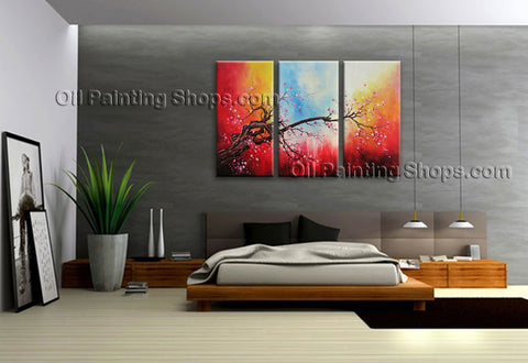 Elegant Contemporary Wall Art Floral Painting Plum Blossom Inner Framed