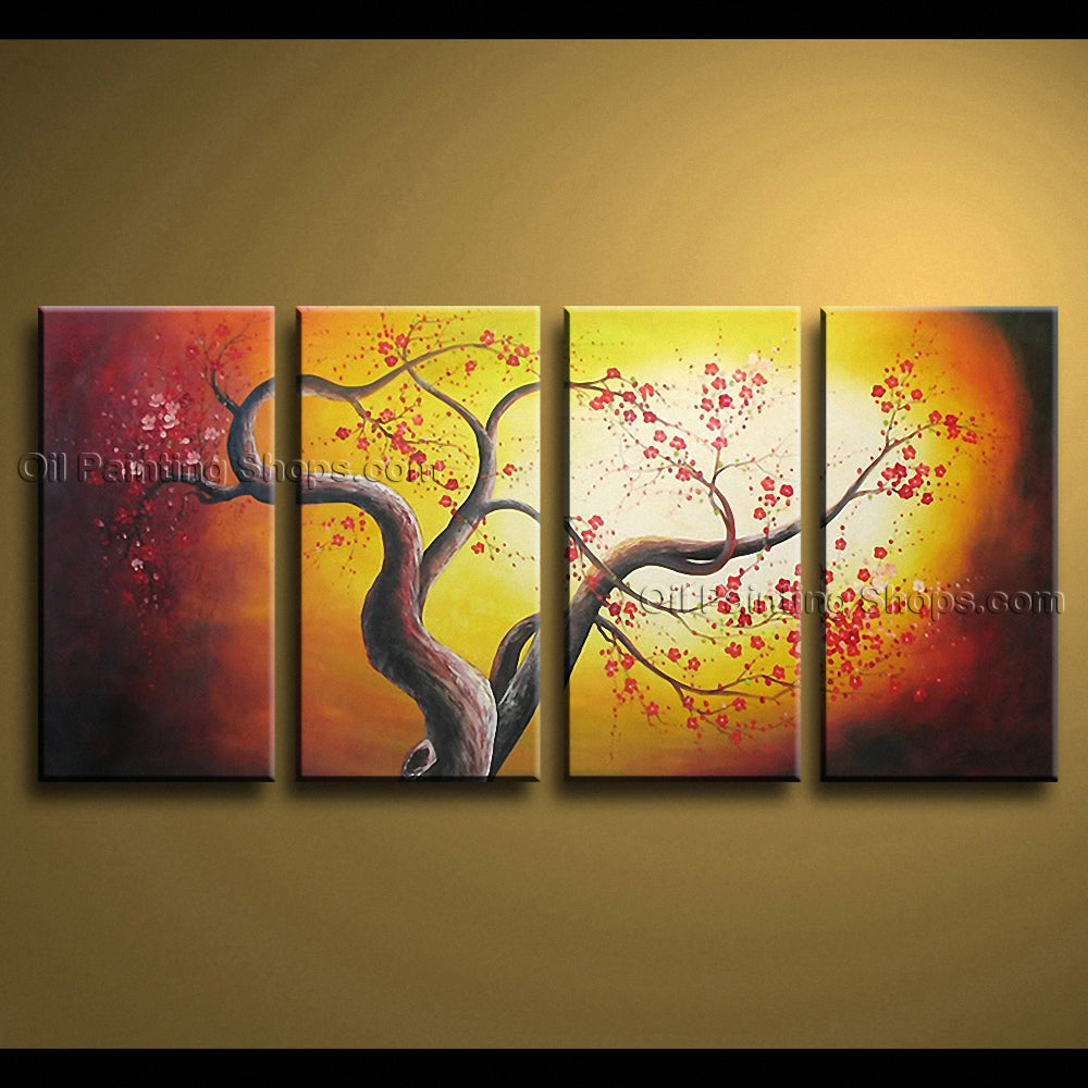 4 Pieces Contemporary Wall Art Floral Cherry Blossom Tree Paintings ...