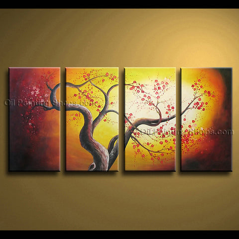 4 Pieces Contemporary Wall Art Floral Cherry Blossom Tree Paintings