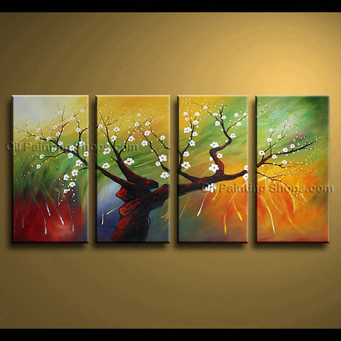 Tetraptych Contemporary Wall Art Floral Painting Cherry Blossom Scenery