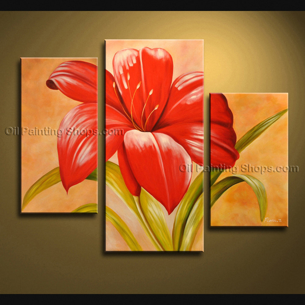 Handmade Triptych Contemporary Wall Art Floral Painting Flower Oil Canvas
