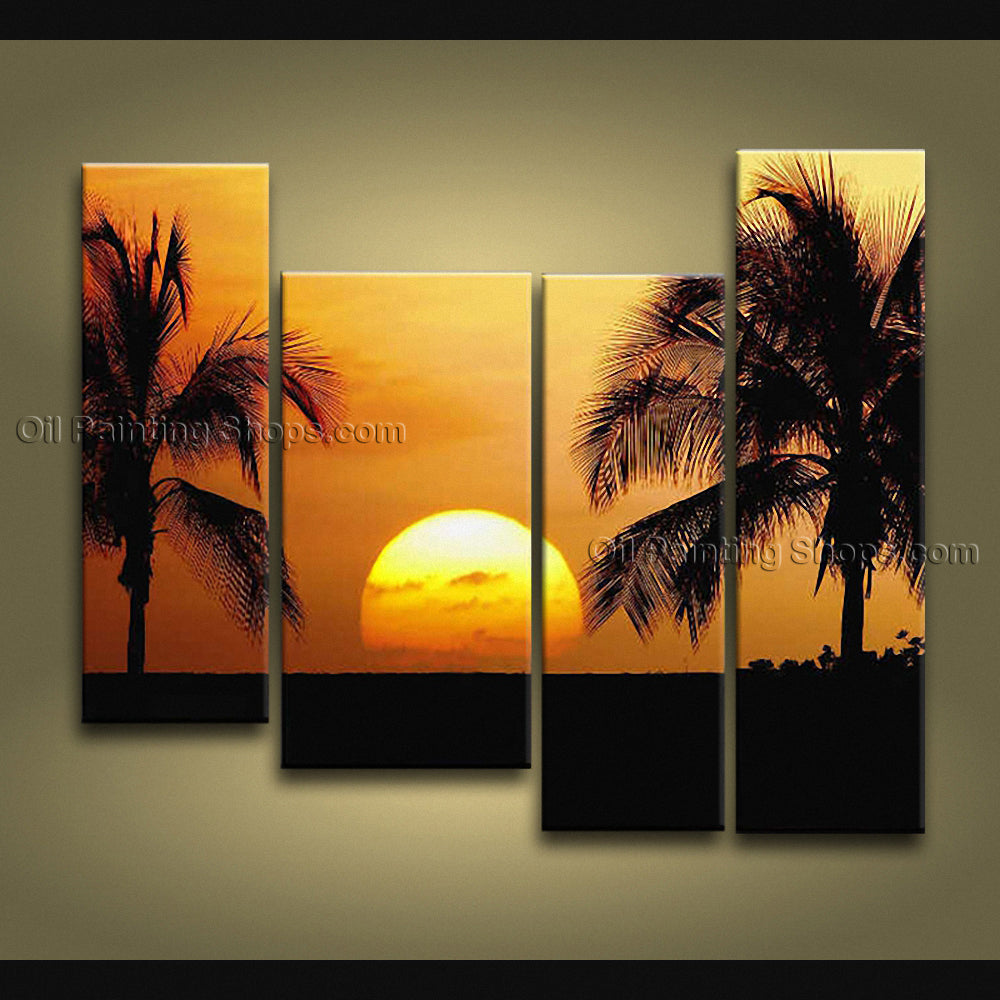 4 Pieces Contemporary Wall Art Seascape Painting Sunset Canvas Stretched