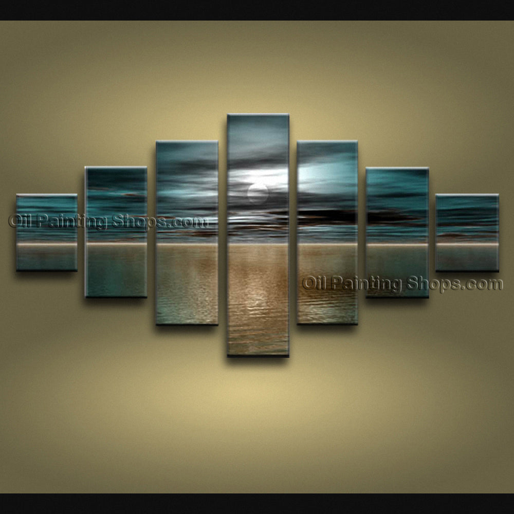 Oversized Contemporary Wall Art Seascape Moon Scene Ocean Paintings
