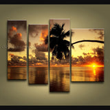4 Pieces Contemporary Wall Art Seascape Painting Sunset Ready To Hang
