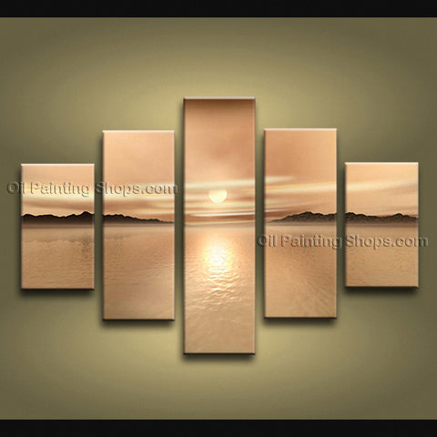 Large Contemporary Wall Art Seascape Painting Sunrise Ready To Hang