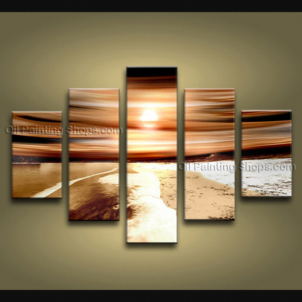 Handmade Large Contemporary Wall Art Seascape Painting Sunrise Ocean Waves