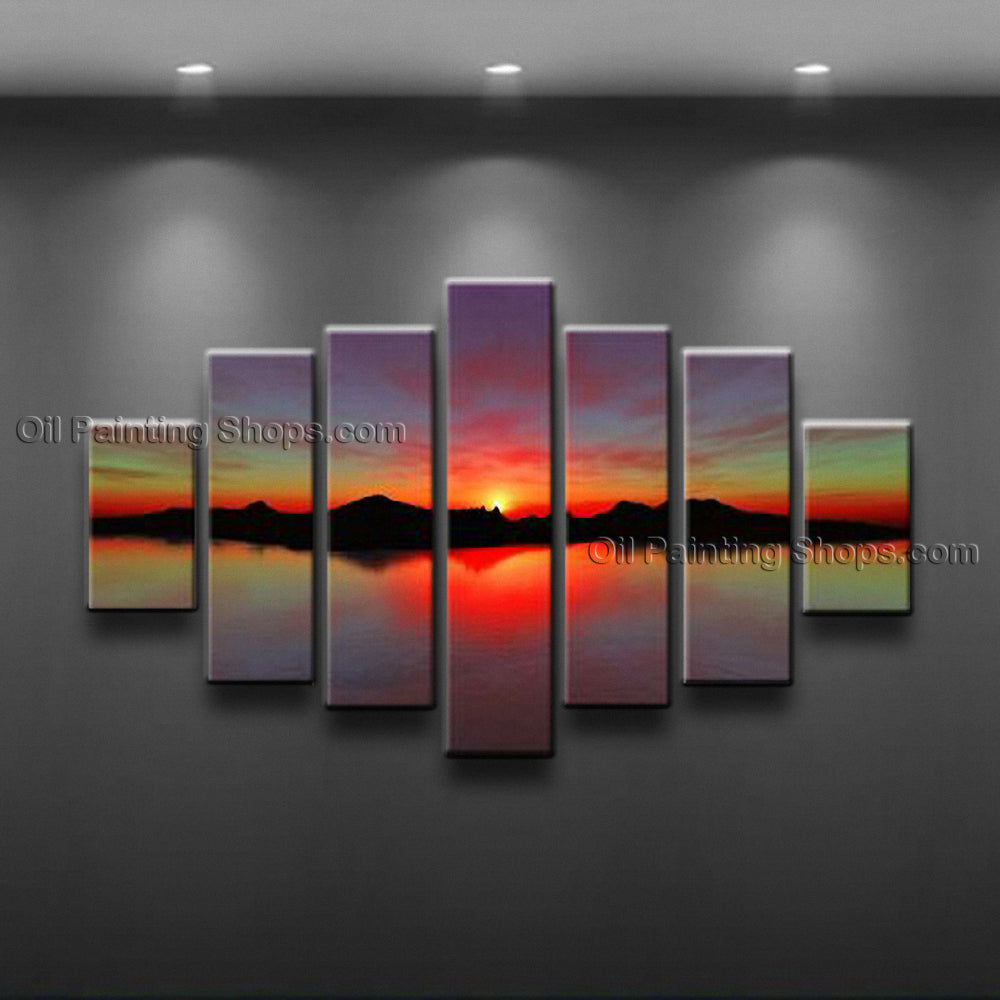 Handmade X Huge Contemporary Wall Art Seascape Painting Sunset Ocean Waves