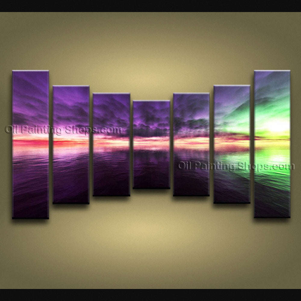 X Huge Contemporary Wall Art Seascape Painting Sunset Canvas Stretched