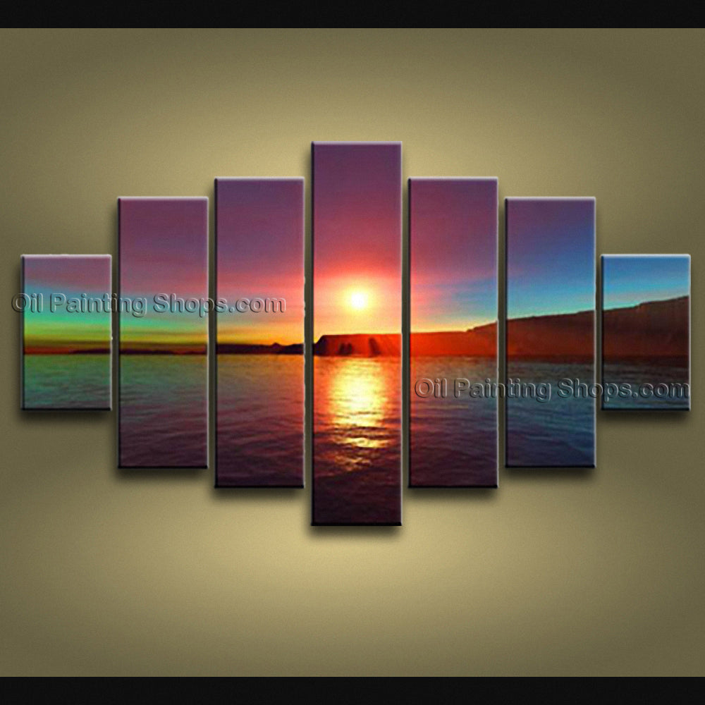 X Huge Contemporary Wall Art Seascape Painting Sunset Gallery Wrapped