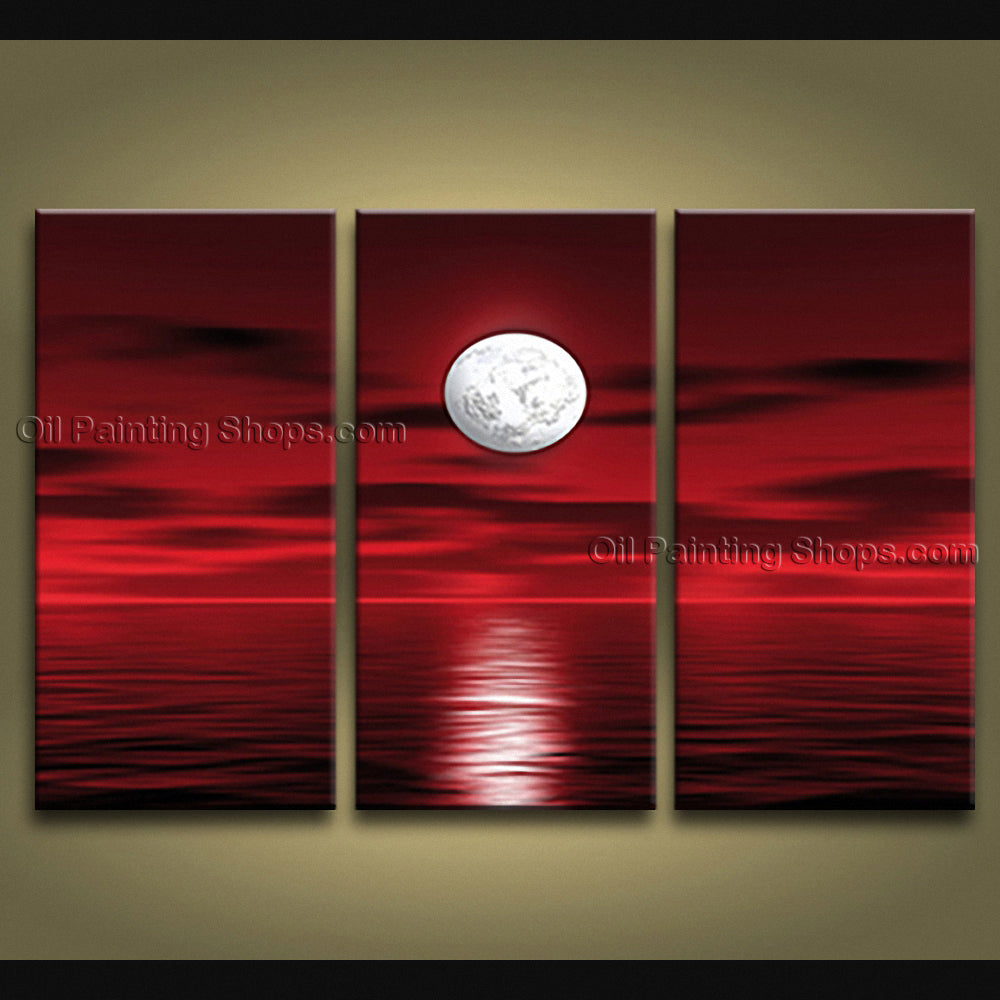 Triptych Contemporary Wall Art Seascape Painting Moon Scene On Canvas