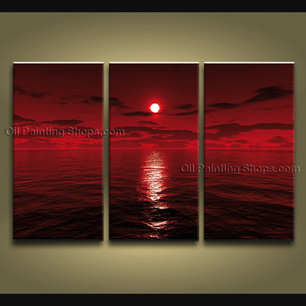 Stunning Contemporary Wall Art Seascape Painting Moon Scene Oil Paintings