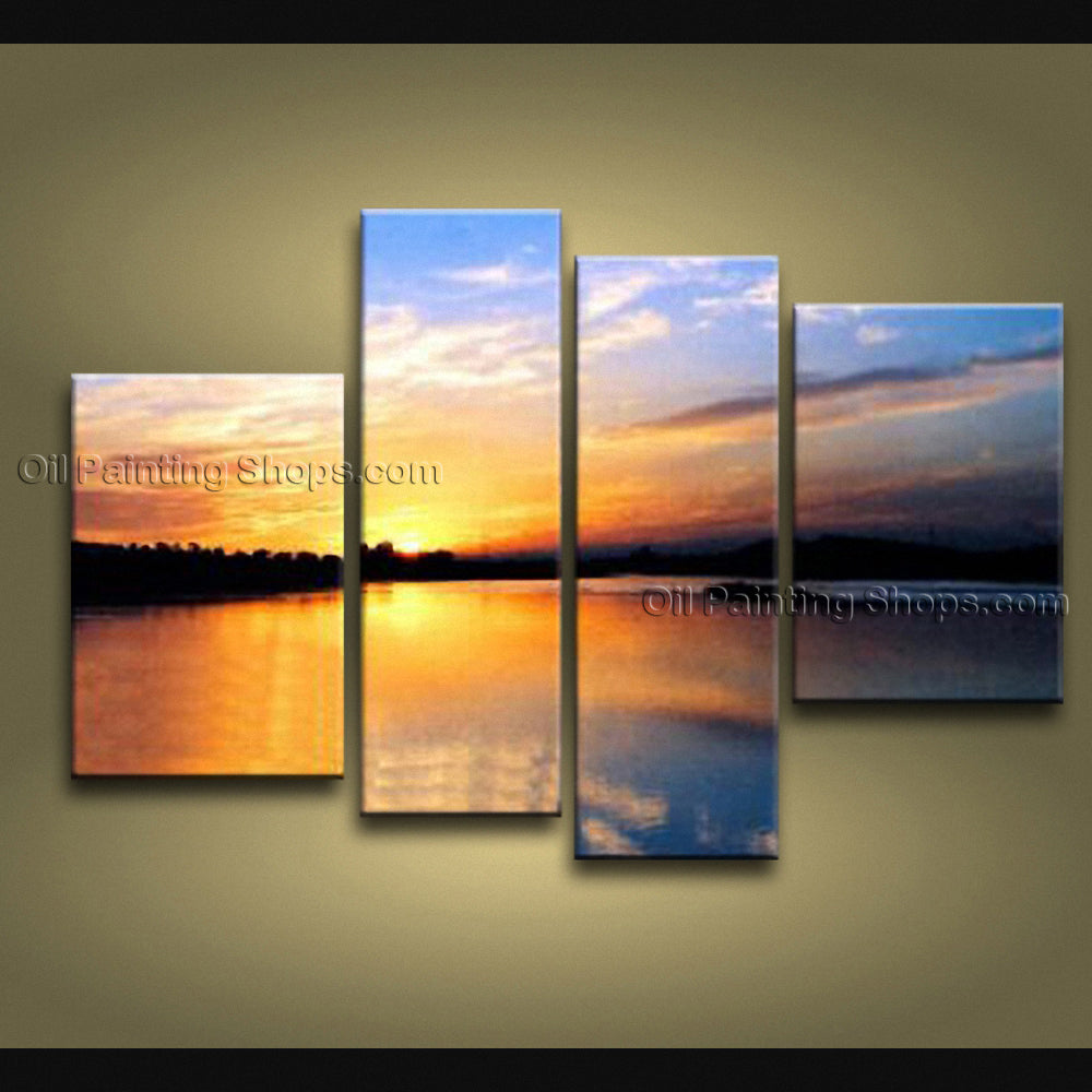 4 Pieces Contemporary Wall Art Seascape Painting Sunrise Ocean Waves