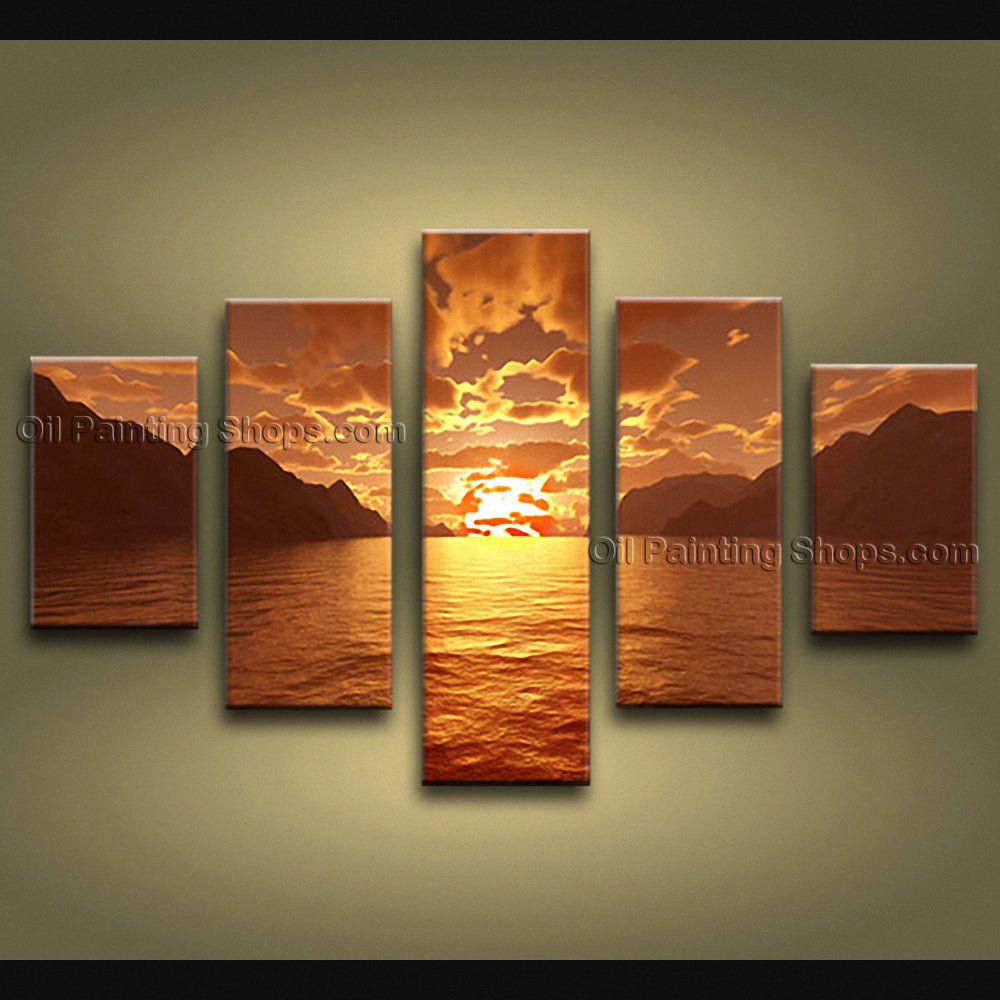 Large Contemporary Wall Art Seascape Painting Sunset Canvas Stretched
