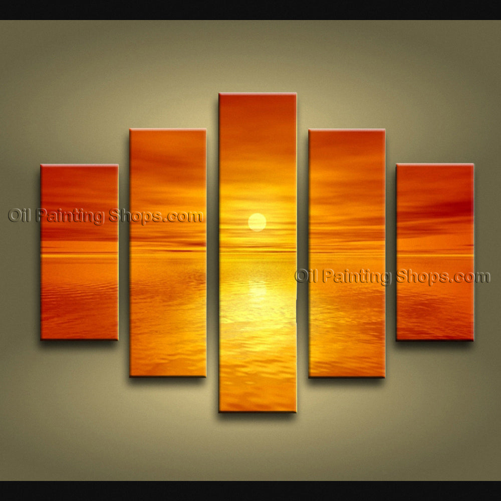 5 Pieces Contemporary Wall Art Seascape Painting Sunset Canvas Stretched