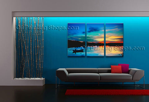 Elegant Contemporary Wall Art Seascape Painting Sunrise Gallery Wrapped