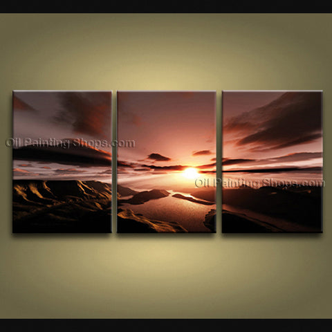 Triptych Contemporary Wall Art Seascape Painting Sunrise Inner Framed