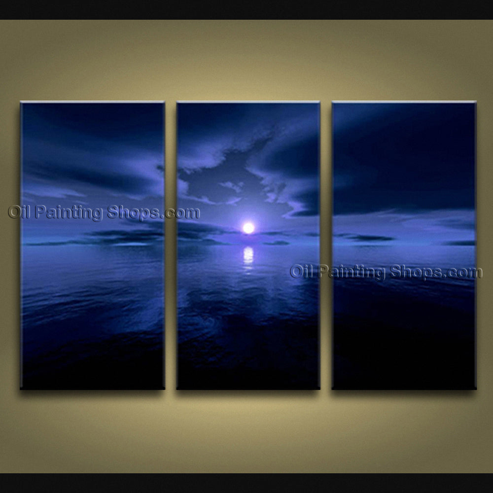 Triptych Contemporary Wall Art Seascape Moon Scene Canvas Stretched