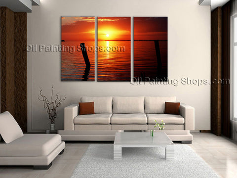 Triptych Contemporary Wall Art Seascape Painting Beach Ocean Paintings
