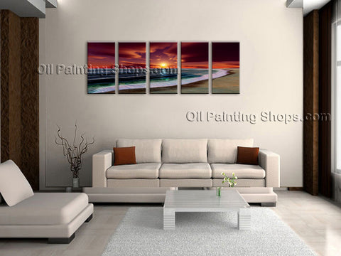 5 Pieces Contemporary Wall Art Seascape Painting Beach Inner Framed