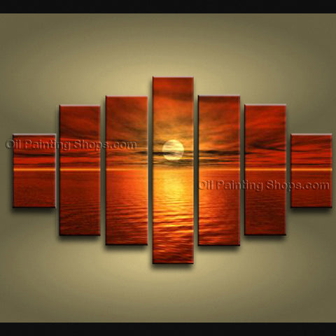 X Huge Contemporary Wall Art Seascape Painting Sunset Oil On Canvas